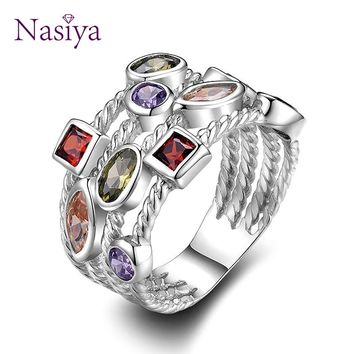 Fashion Colorful Gemstone Vintage Rings For Women Sterling Silver 925 Jewelry Ring Luxury Anniversary Birthday Gift For Mother