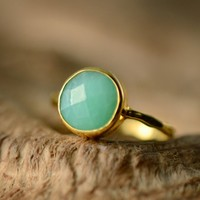 Holiday Sale - Stackable Ring - Chrysoprase Ring - Gemstone Ring - Gold Ring - Bezel Ring - FREE SHIPPING