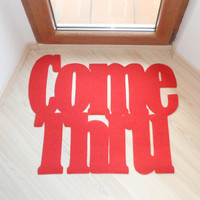 "Floor mat ""Come thru"". Original doormat. Welcome door mat"