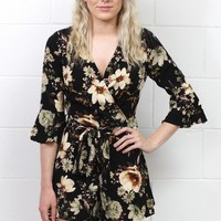 3/4 Sleeve Vintage Florals Surplice Romper {Black Mix}