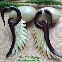 "Fake Gauge Earrings, ""Earth's Embrace"" Hand Carved, Sono Wood, Mother of Pearl, Naturally Organic"