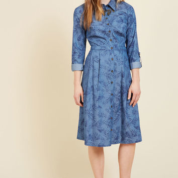 Broadcast Coordinator Shirt Dress in Frond | Mod Retro Vintage Dresses | ModCloth.com