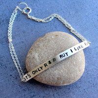 Personalized sterling silver chain bracelet, Rock and Roll, Rolling Stones song, custom jewelry