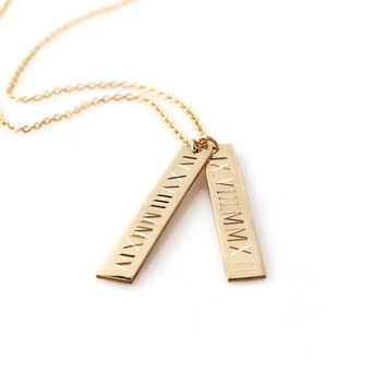 ROMAN numeral necklace Personalized nameplate vertical gold bar layering pendant necklace | custom engraved with dates or GPS coordinates