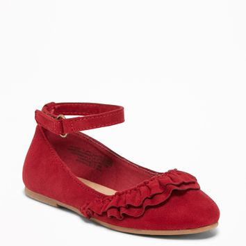 Sueded Ruffle Ballet Flats for Toddler Girls|old-navy