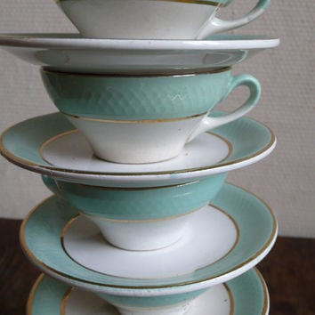 Vintage Cups and saucers, Espresso, coffee, demi-tasse, tea, drink, French Vintage by ancienesthetique on etsy