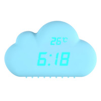2016 1pcs Digital Alarm Clock Blue Cloud Shape Sound Control Alarm Clocks Time Temperature Date Clock 155mm * 115mm * 55mm