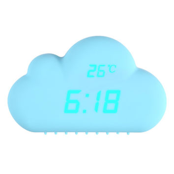 2017 1pcs Digital Alarm Clock Blue Cloud Shape Sound Control Alarm Clocks Time Temperature Date Clock 155mm * 115mm * 55mm