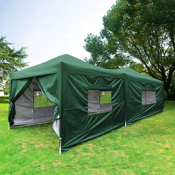 Big Sale!!Quictent privacy 10x20 Feet Green Mesh Curtain EZ Pop Up Party Tent Canopy Gazebo 100% Waterproof