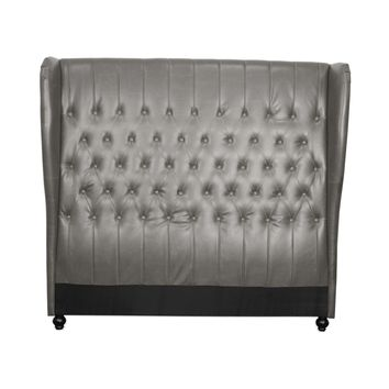 Alice Queen Bonded Leather Wing Headboard, Vintage Gray