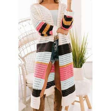 Winds Of Freedom Open Knit Cardigan (Ivory)