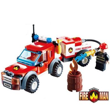 2017 Educational City Fire Rescue Truck Building Bricks Toy DIY Assembled Fire Fighting Fireman Figures Blocks Toys for Children
