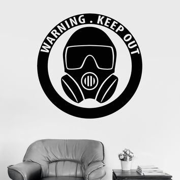 Vinyl Wall Decal Gas Mask Military Art Boy Teen Room Stickers Unique Gift (ig3713)