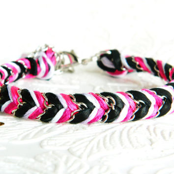 Light Lilac, Fushia Fizz & Soft Noir Leather - Adjustable Chevron Braided Modern Friendship Bracelet