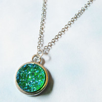 Emerald Green Druzy Crystal Necklace, Pastel Crystal Chain Necklace
