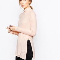 ASOS | ASOS Longline Top With Side Split And Turtleneck at ASOS