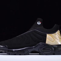 "Nike Air Max Plus Slip SP TN Retro Running Shoes ""Black&Gold"""