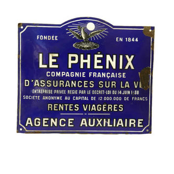 French Antique Advertising Sign. Blue and White French Enamel Street Sign.
