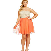 Jodi Kristopher Plus Strapless Lace Bodice Party Dress - Gold/Bright M