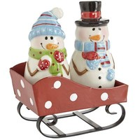 Snowmen Sleigh Salt & Pepper Shakers