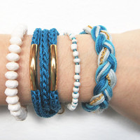 Blue stacked bracelets, set of stackable bracelets, arm candy