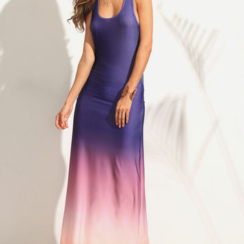 Multicolor Ombre Ruched Racerback Maxi Tank Dress