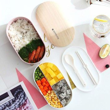 Portable Health Material Lunch Box Woody Oval Double Container