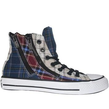 LMFONIG Converse All Star Chuck Taylor Plaid Dual Zip Hi - Navy Multi High Top Sneaker