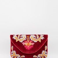 Moyna Envelope Clutch Bag in Oxblood with Embroidery at asos.com