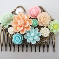 Wedding Hair Comb Peach Pink Mint Green Turquoise Baby Blue Bridal Head Piece Bridesmaids Floral Hair Accessories Flower Pastel Colors