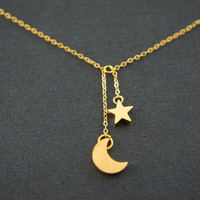 Gold Moon Crescent and Star dangling necklace, gift, lucky, valentine's day, birthday