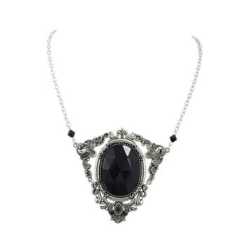 Gothic Queen magical black Large stone pendant