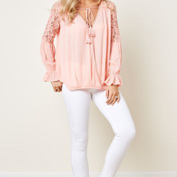 Heart Stopping Light Coral Lace Top