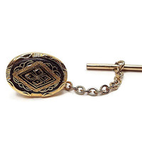 Vintage Tie Tack, Swank Tie Tack, Damascene Black and Gold Tone, Mid Century 1960s 60s, Oval Tie Pin, Hipster Jewelry