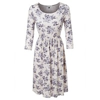 Casual Flared 3/4 Sleeve Floral Print Midi Dress (CLEARANCE)