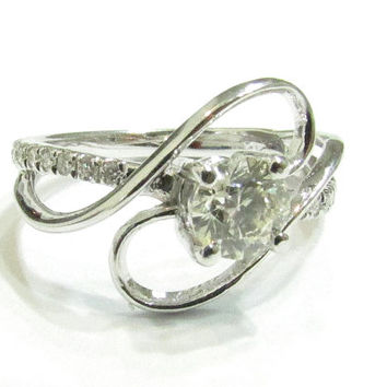 Gold Engagement Ring-14k white gold and diamonds engagement ring , Unique design diamond ring, filigree, Art deco