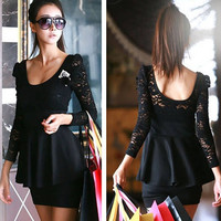 Fashion Sexy Black Lace Long Sleeve Mini Clubbing Cocktail Party Dress = 1932174980