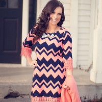 Twilight Descends Chevron Dress in Coral