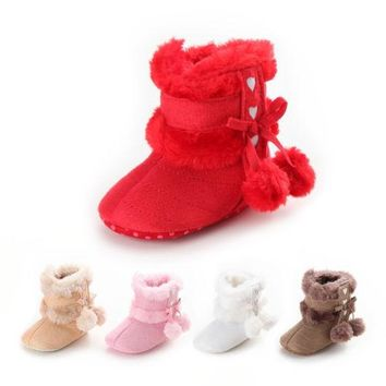 Newborn Baby Infant Toddler Kids Girls Snow Boots Crib Shoes Prewalker Cotton Booties Winter Warm Shoes