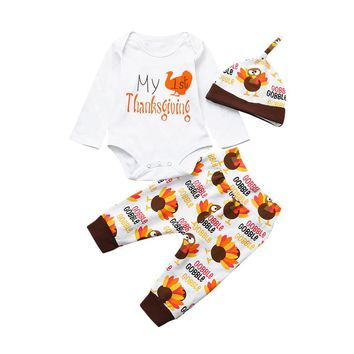 Newborn Infant Baby Girl Boy Letter Romper Tops+Pants Thanksgiving Outfits Set