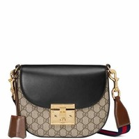 Gucci Padlock Medium GG Supreme Saddle Bag, Black