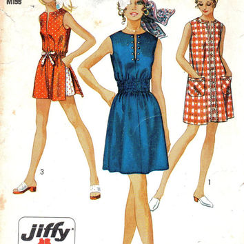 Simplicity 70s Sewing Pattern Retro Mod Dress Tunic Shorts Sleeveless Top Housedress Slit Neckline Jiffy Sew Bust 36