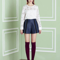 Patterned Embroidered Pleat Mini Skirt