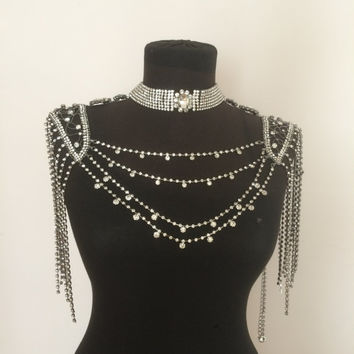 Luxurious Crystal shoulder chain, black  shoulder necklace, wedding shoulder necklace, bride, shoulder jewelry