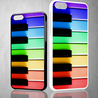 Piano keys music rainbow X0447 iPhone 4S 5S 5C 6 6Plus, iPod 4 5, LG G2 G3, Sony Z2 Case