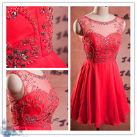Sexy red cocktail dresses/short prom dress/prom dresses/party dresses/evening dress/prom dress/short party dresses/short evening dress