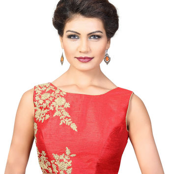 Designer Red Dupion Silk Sleeveless Embroidered Sari Blouse SNT-KP-133-NS