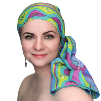 Fiesta Green Turban, Head Wrap Alopecia Scarf, Chemo Hat, Hat & Scarf Set