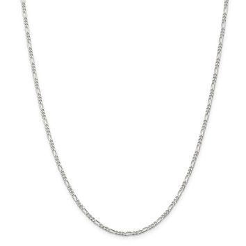 925 Sterling Silver Rhodium-plated 2.25mm Figaro Chain Necklace, Bracelet or Anklet