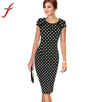 Women  Retro Faux One-Piece Polka Dot Contrast Patchwork Bandage Bodycon Short Sleeve Sexy Party Pencil Knee-Leng Dress